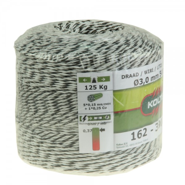 Produse, Instrumentar & Aparatura Veterinara | Gard Electric | Crotalii Animale - Conductor polifir Koltec negru/alb 6 fire 3 mm 500m