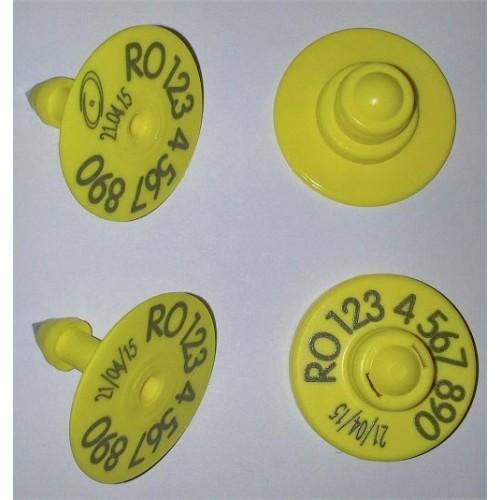 Produse, Instrumentar & Aparatura Veterinara | Gard Electric | Crotalii Animale - Kit crotalie electronica Flexa RFID Button S + crotalie vizuala Button varf metalic pentru ovine